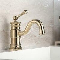 New Arrival Unique Design Luxurious Bathroom Sink Faucet Product Golden Plate Finish Single Hole Gold Faucet G1095