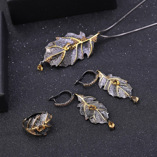 GEM'S BALLET Georgia O'keeffe 0.97Ct Natural Citrine 925 Sterling Silver Handmade Monstera Leaves Drop Earrings for Women Bijoux-in Earrings from Jewelry & Accessories on Aliexpress.com | Alibaba Group