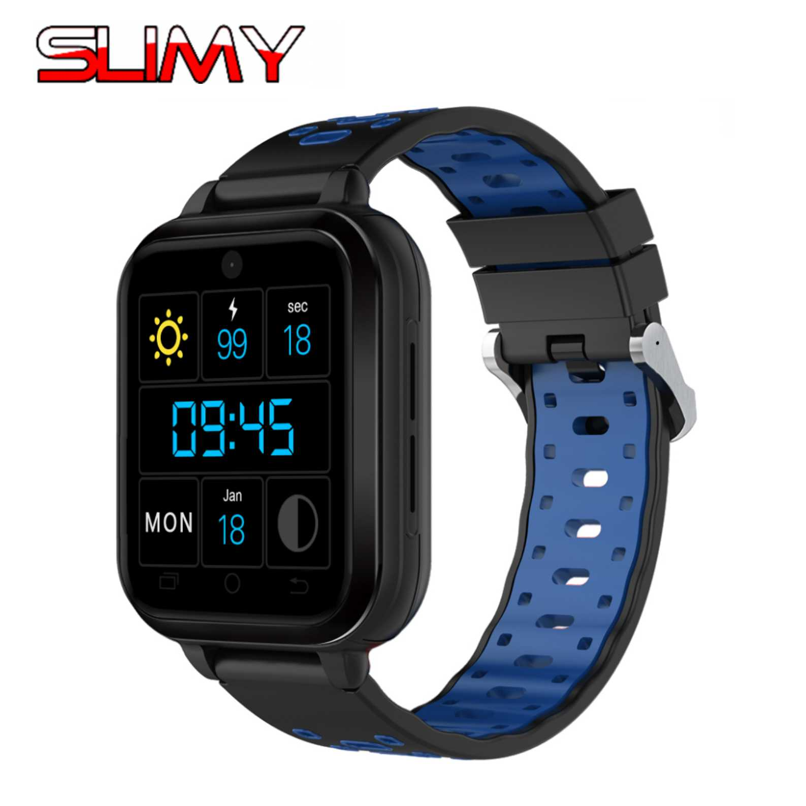 Slimy 4G LTE Wifi Smart Watch MTK6737 Quad Core 1G Ram 8G Rom Android 6.0 Heart Rate Monitor Camera SIM Card GPS for Women Men crcular shape no 1 d5 android 4 4 bluetooth gps smart watch with heart rate monitor google play gps 4g rom 512m ram smartwatch
