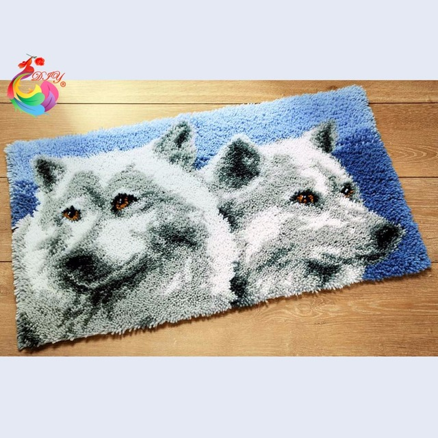 Wolf Cross Sch Thread Embroidery Kits Latch Hook Rug Knitting Needles Rugs Carpets