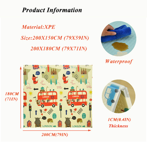 Image 3 - Infant Shining Reversible Baby Play Mat Cartoon Soft Mat Big Size 180*200*1CM Thickened Kids Rug Game Pad Playmat for Children