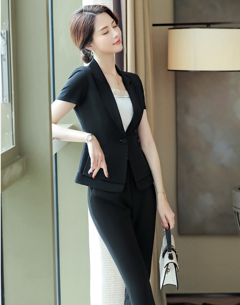 Novelty Black Formal Uniform Designs Pantsuits With Pants And Tops For Office Ladies 2019 Summer Professional Work Wear Blazers