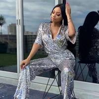 summer jumpsuit 2019 chic sexy silver half sleeve v neck sequin jumpsuit shiny celebrity party nightclub women bodysuit wholesal