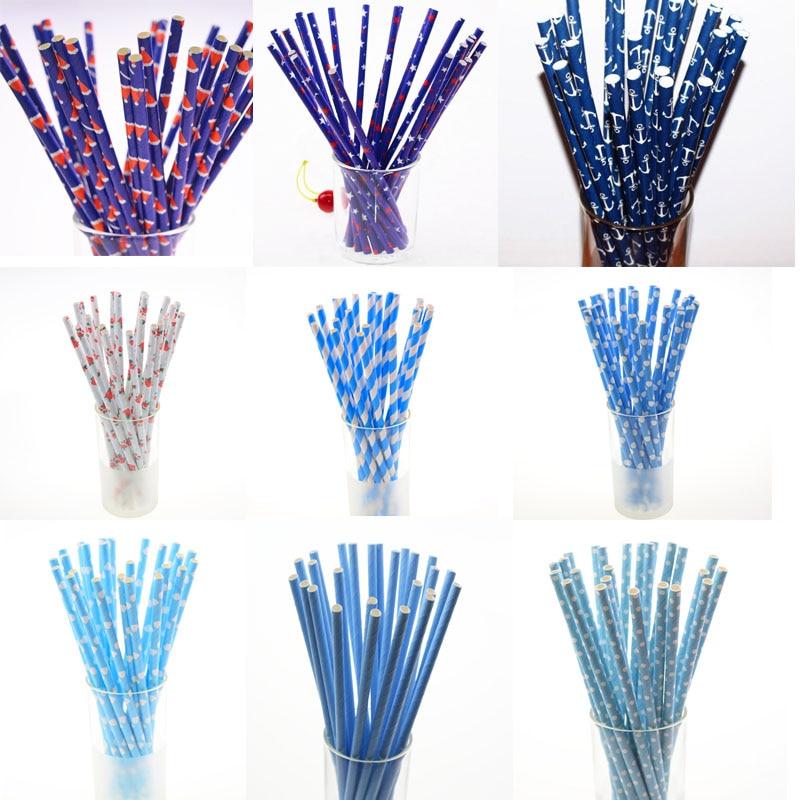 25pcs Blue Paper Straws Kids Birthday Wedding Decorative Party Birthday Holiday Supplies Anchor Drinking Straws Xmas