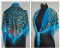New Arrival Light Blue Women's Velvet Silk Beaded Shawl Triangle Embroidery Scarf Wrap Scarves Peafowl Free Shipping WS005-G