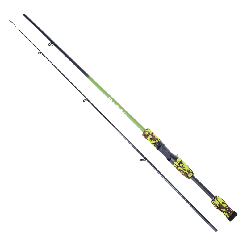 Camuflaje verde portátil 3,4 M 1,8-20g señuelo prueba M acción fibra de carbono viaje carpa Baitcasting Spinning caña de pescar