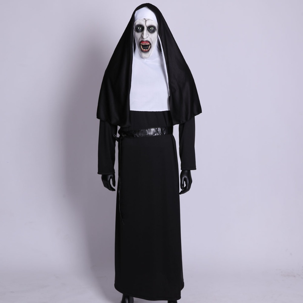 The Nun Horror Cosplay Mask With Costume Valak Virgin Latex Masks Adult Deluxe Clothing Halloween Party Costumes DropShipping2