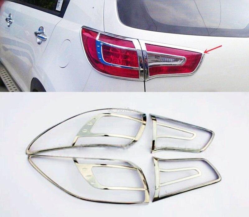 цена на For Kia Sportage 2010 2011 2012 2013 2014 ABS Chrome Tail Light Surrounds Covers Trim Set