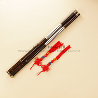 Chinese Traditional Professional Performance Black Bamboo Bawu Dual Pipe Ba Wu Flute + Case Key of F+bB, G+C