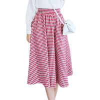 2017 Fashion Black Red Blue Classic Plaid Loose Summer Elastic Waist Midi Skirt Women Pleated Skirts