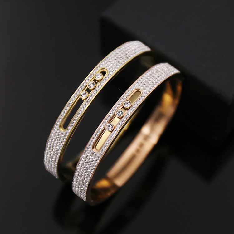 TYME Fashion Trendy Stainless Steel love Bangles Bracelets For Women Gold-Color Move Crystal H Bracelet FemmeJewelry Party Gift fashion jewelry copper color 2 style bracelets mens stainless steel hologram magnet bracelets bangles for man trendy gift