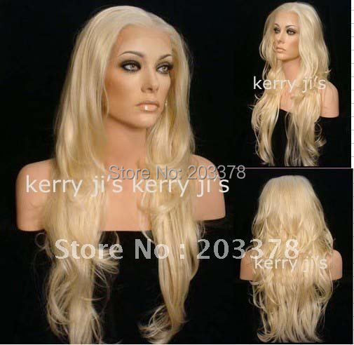 "26"" Synthetic Long LACE FRONT Wig Wigs Curly Wavy #613 Blond Hair free shipping"
