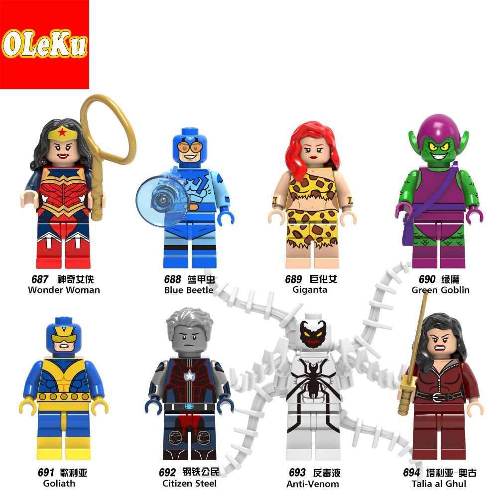 Blue Beetle Giganta Wonder Woman ตัวเลข Goliath สีเขียว Goblin Super HERO CITIZEN Anti-VENOM ชุดบล็อกอาคารของเล่น