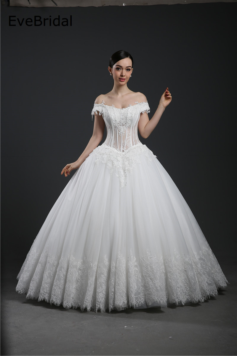 A Line Boat neck Tulle Lace Applique Beading Floor length Bridal Gown Wedding Dress