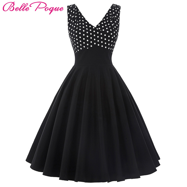 2c500e177dc Belle Poque Summer Dress Women 2017 Polka Dot Casual Robe Pin up Swing Clothing  Vintage 50s Rockabilly Black White Dresses Women