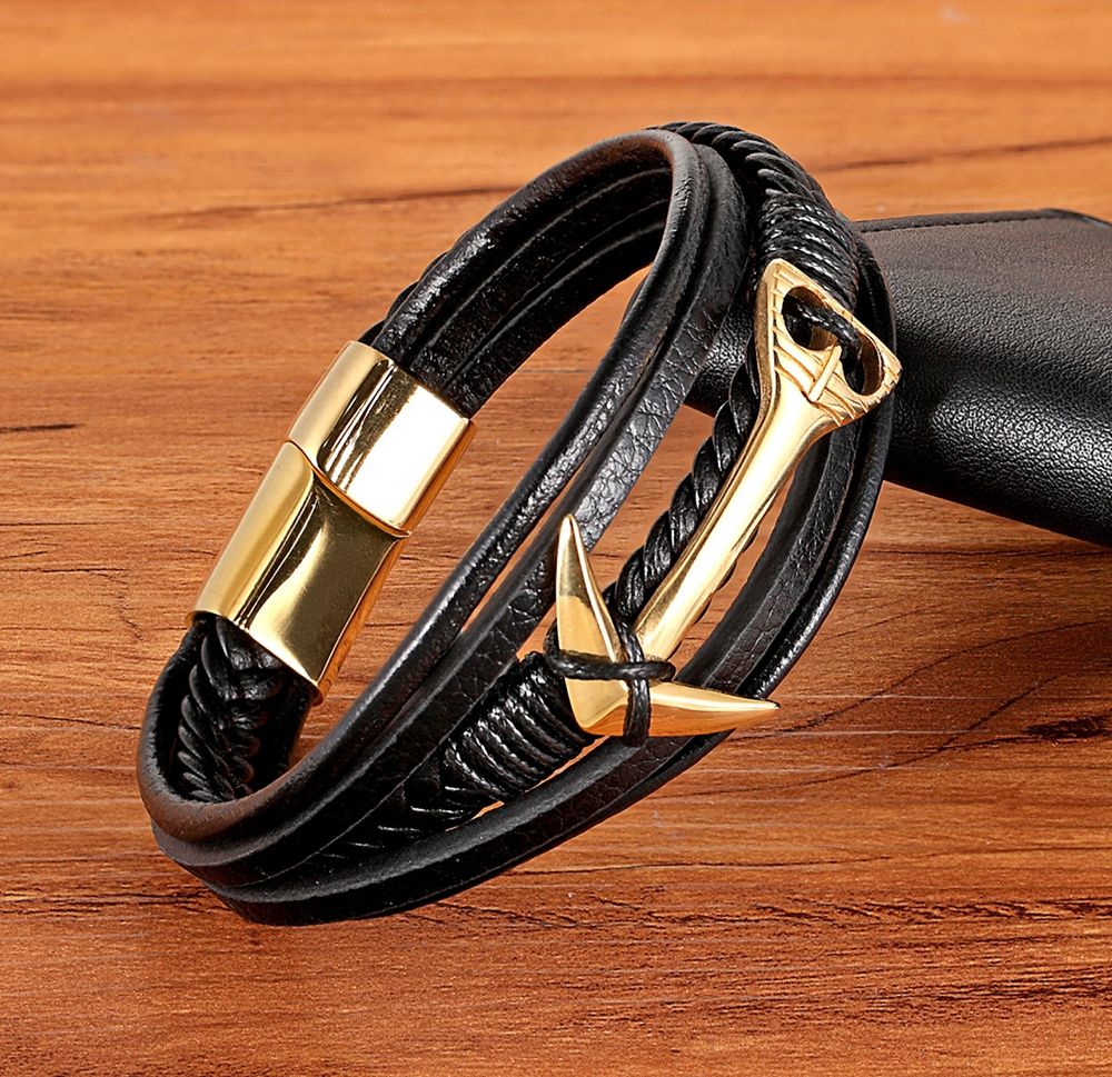 XQNI Charming Jewelry Different Designs Geometric Pattern Multi-layers Genuine Leather Bracelet For Men Fashion Jewelry Gift