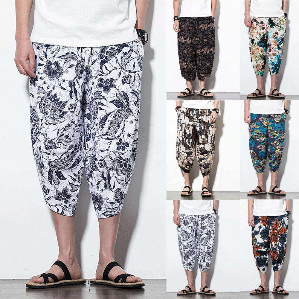 Men Casual Retro Printed Streetwear Drawstring Calf-Length Pants Harem Trouse Loose Pant Vintage Hip Hop Baggy Wide Leg Pants(China)