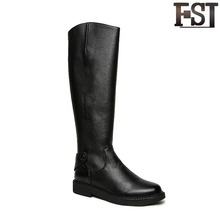 FSJ Ladies Winter Boots 2019 Leather Synthetic Knee-High Round Toe Spring/Autumn Genuine Leather Zipper Low Heel Black Shoes smirnova black fashion autumn winter shoes woman square toe genuine leather knee high boots women low heel elegant ladies boots