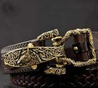 1Set=4pcs Solid Brass Cavalry Belt Buckle for Men DIY Waistband Jeans Leather Craft for 38mm Belt Rivet Screws Accessory