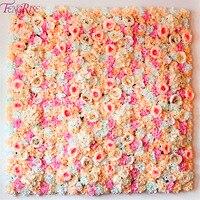 FENGRISE 40x60cm Silk Rose Flower Champagne Artificial Flower for Wedding Decoration Flower Wall Romantic Wedding Backdrop Decor