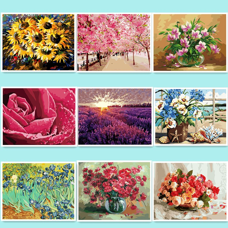 Flower Painting By Numbers On Canvas DIY Hand Painted Pictures For Home Decor Christmas Gift Coloring By Numbers lavender DY49