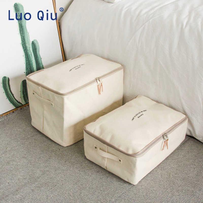 Japanese thickened canvas storage box, clothing collection bag, covered zipper cotton quilt bag