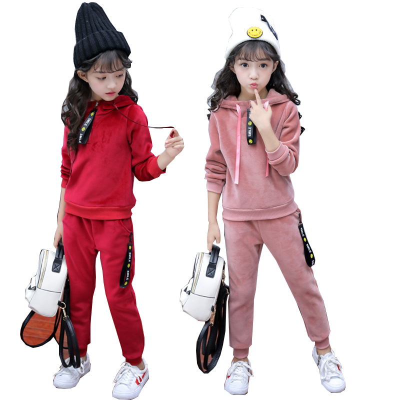 Children girls clothing set spring autumn teenage girls sport suit school kids clothes velvet warm tracksuit for girls clothes 2 pcs children girls clothing sets spring little teenage girls sport suit school kids clothes tracksuit striped tops pants set