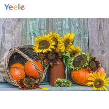Yeele Autumn Harvest Pumpkin Basket Wood Board Photography Background Thanksgiving Day Photocall Backdrop For Photo Studio