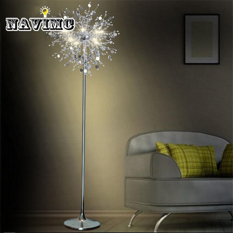 Crystal Living Room Stand Floor Lamp Modern Flower Floor