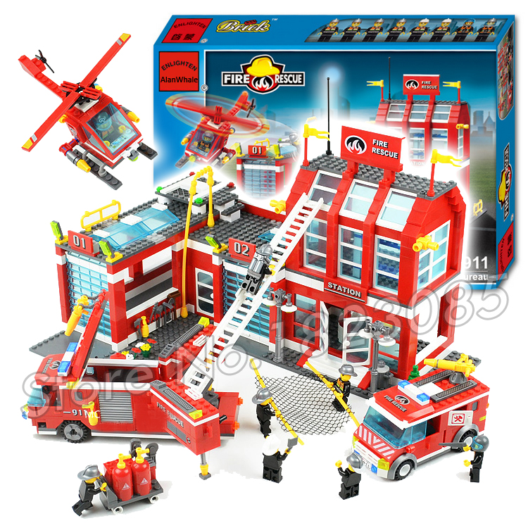 970pcs 2016 New City Fire Station Truck Firefighter Minifigures large Model Building Blocks Christmas toys Compatible with lego