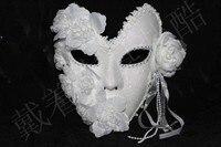 Máscara veneciana de la mascarada máscara de la princesa de encaje de flores hombres y mujeres más pluma de la cara llena máscara de polvo blanco