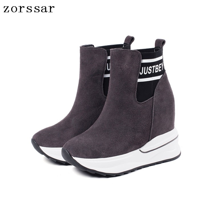 {Zorssar} High Quality Cow Suede Leather Women High boots Women Ankle Sock Boots High heels Women Shoes Winter Fur Snow Boots 2018 fashion natural cow suede split leather womans winter snow boots for women winter shoes warm fur high quality ankle boots