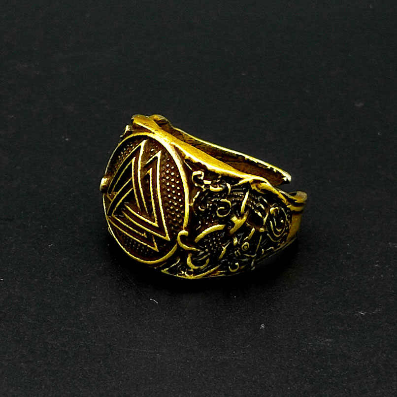Скандинавское мужское знаковое кольцо Viking Valknut Warrior Rune jewelry, регулируемое 1 шт.