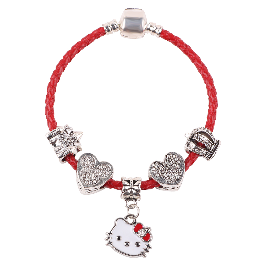 AIFEILI Fashion Cartoon Dangles Leather Charm Bracelets For Women Mickey Beads Fine Bracelets & Bangles Gift For Child