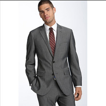 men suit business notch shawl groom suits men gray custom made suit 2016 high quality slim fit formal wear