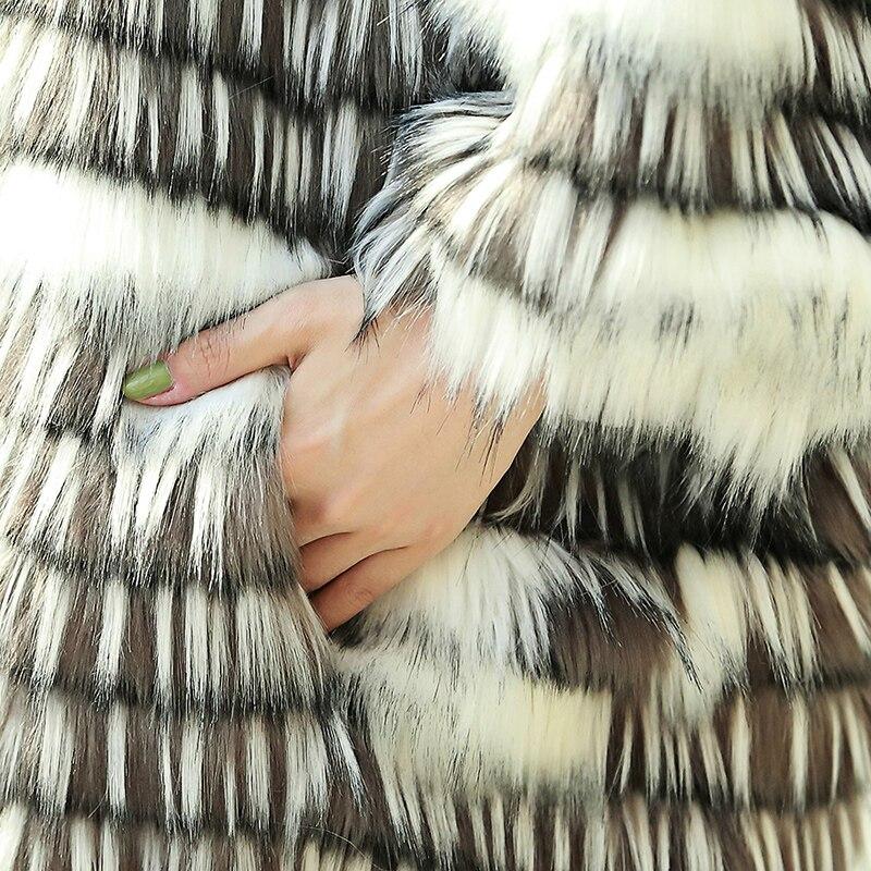 Nerazzurri Abrigo de piel sintética de invierno Mujer Suelta mullida - Ropa de mujer - foto 5