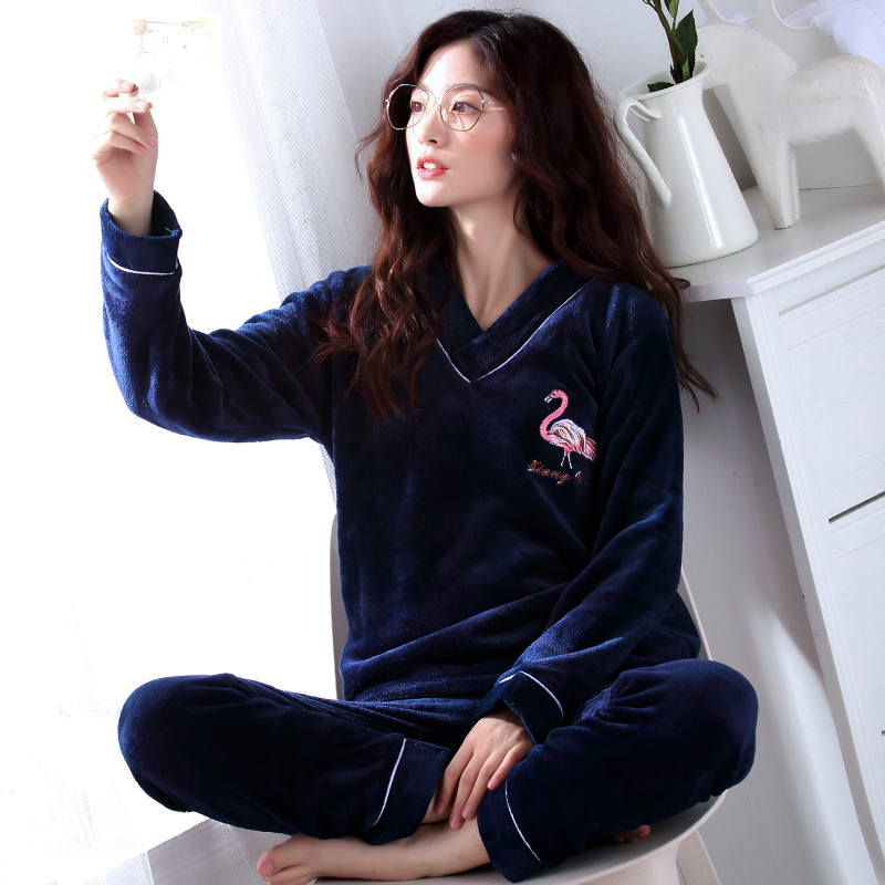 Winter Warm Flannel Elegant Women Sleepwear   Pajamas   lady Cartoon Print   Pajama     Set   Pullover Coral Fleece Pijamas Mujer Home Suits