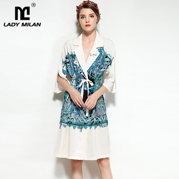 New Arrival 2018 Womens Notched Collar Long 3/4 Sleeves Printed Patchwork Fashion High Street Casual Dresses