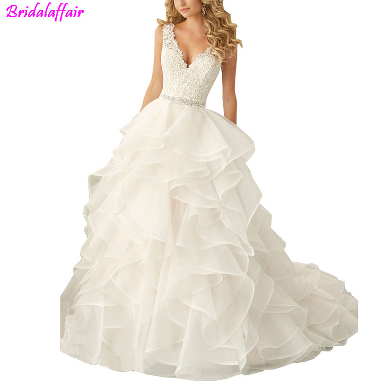 Corset Wedding Dresses Ruffled Organza Custom Made White/Ivory Plus Size Bride Dress Cheap With Free Shipping