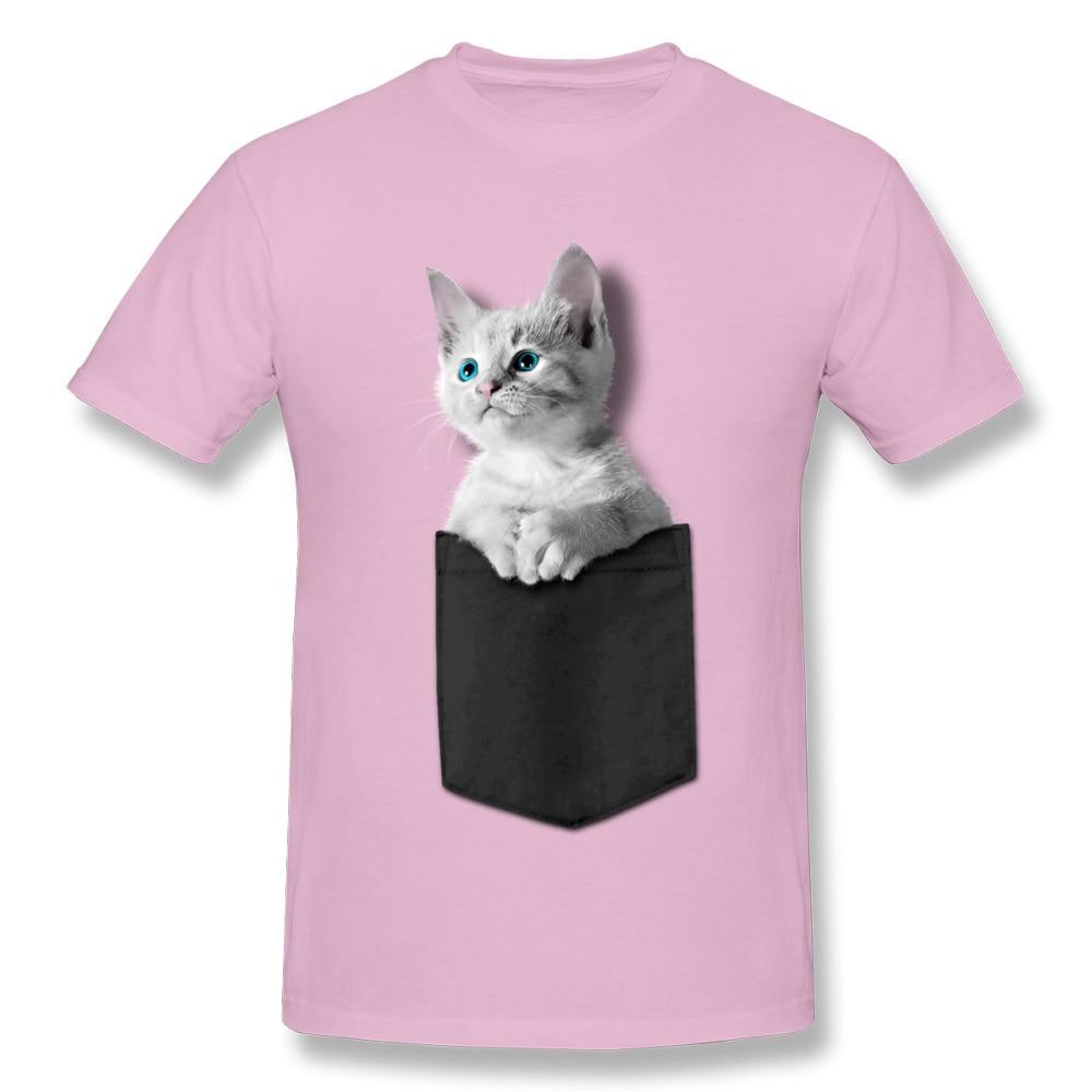 Pocket Kitten 100% Cotton Men Short Sleeve Tops Tees Normal NEW YEAR DAY Tshirts Custom T-shirts 2018 Newest Round Collar Pocket Kitten pink