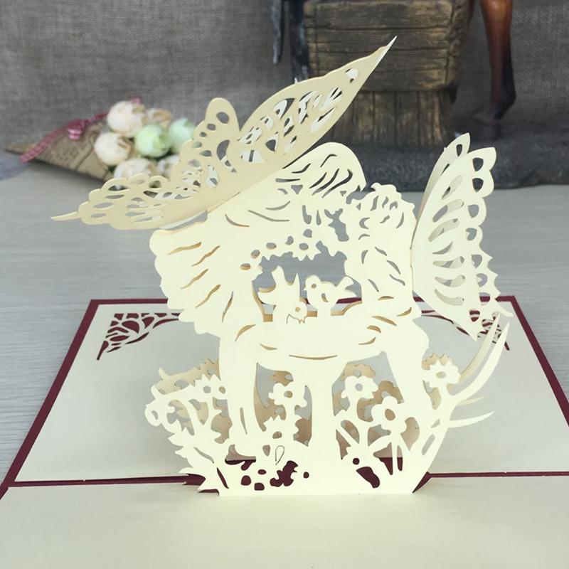 1pcs Angel Kiss Laser Cut Paper Greeting 3D Pop Up Kirigami Card Wedding Invitation Birthday Valentine's Day Postcards Gifts (4)