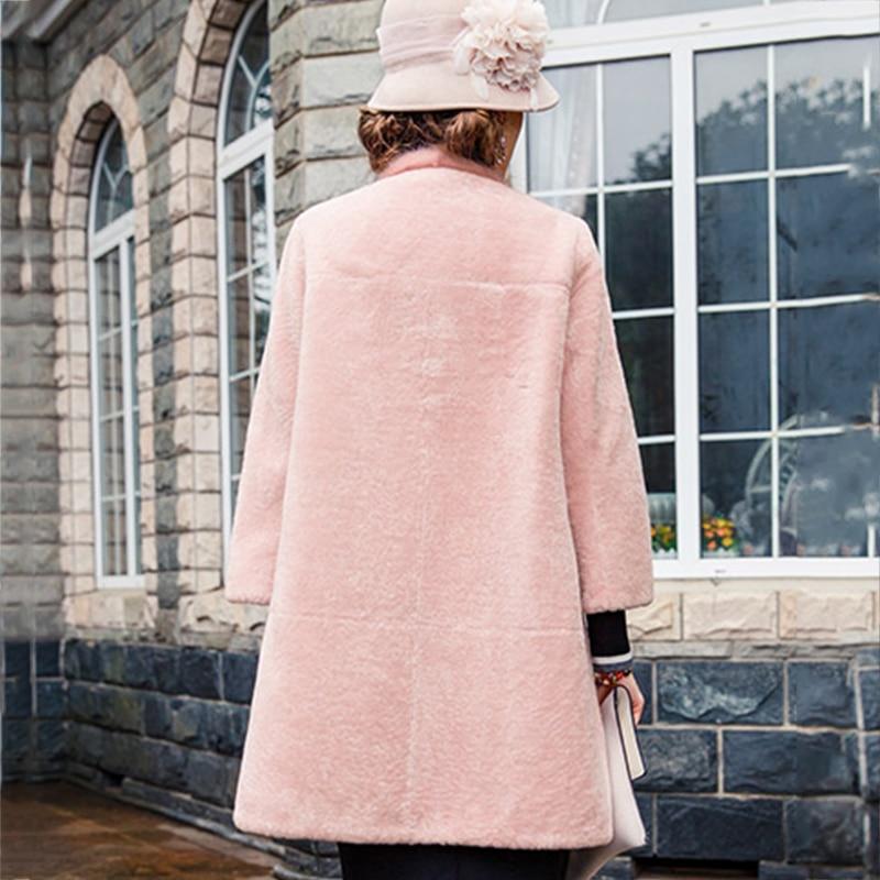 Manteaux Moyen Agneau rose Manches Slim Beige Mode Bouton Vison Unique Fourrure Rose Plein Lvchi Poitrine De Hiver Élégante Épais 2019 Chaud RIwqx4c7v