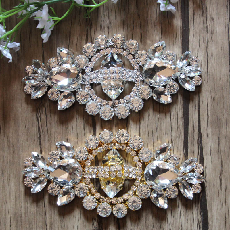Free Shipping 12pcs lot 4 7 Rhinestone Applique Bridal Sash Rhinestone Patch LSAP003
