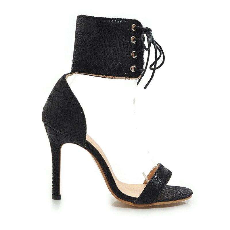 c858daa305a971 Femmes Stilettos À Ouvert white Lacets Femme Pour 2019 Bout Pu Black Sandales  Cuir Sandale Talon Sexy Haut ...