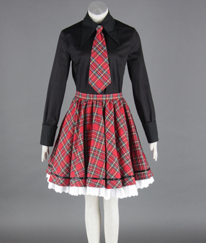 Classic Lolita Uniforms High School Girls School Uniforms Black Shirt Tie Plaid Skirt 3 Pcs on Sale MR0196