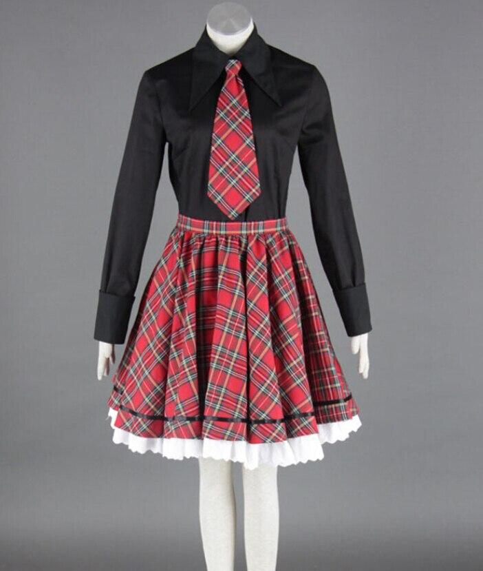 Classic Lolita Uniforms High School Girls School Uniforms Black Shirt Tie Plaid Skirt 3 Pcs on Sale MR0196