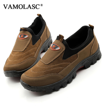 VAMOLASC New Men Outdoor Climbing Boots Suede Leather Slip-On Hiking Shoes Waterproof Mountain Walking Trekking Boots
