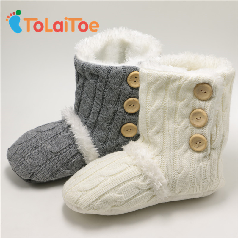 ToLaiToe Adult Button Warm Soft Knitting wool Floor Slippers Non-Slip Plush Home Shoes Slippers Household Indoor Shoes Unisex tolaitoe home soft plush leopard slippers coral fleece indoor home shoes floor sock indoor winter foot warmer household slippers