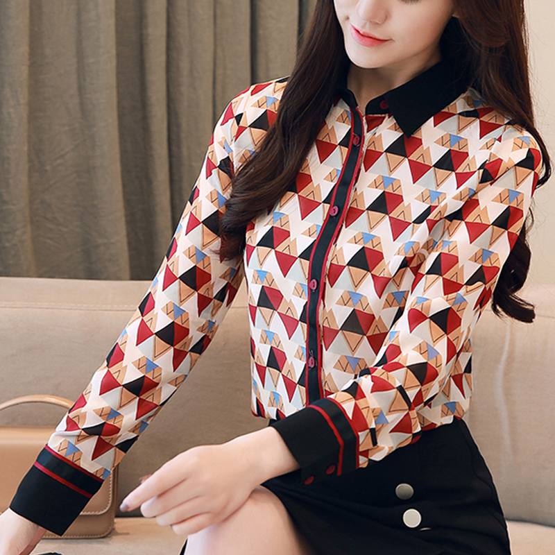 Tops Women red and white Flowers Printing Chiffon Blouse 2018 autumn Blouse Stand Collar Lady Office Work Wear Clothes 183C5X