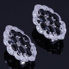 Delightful Marquise Black Cubic Zirconia White CZ 925 Sterling Silver Clip Hoop Huggie Earrings For Women V0885